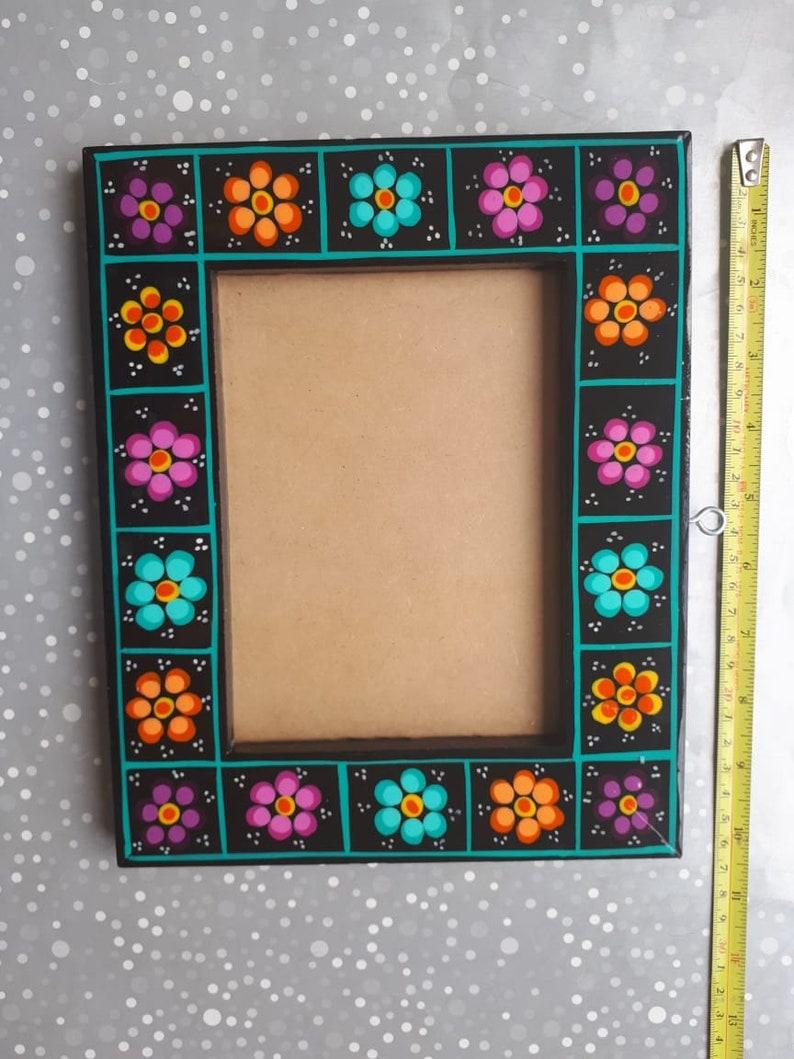 black flowers photo frame Mexican photo frame Mexican Portrait talavera tile Mexico family picture frame Mexican talavera photo frame
