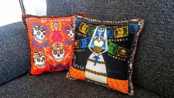 "Rétro mexicain sugar skull day of the dead noir multi 16/"" oreiller housse de coussin"