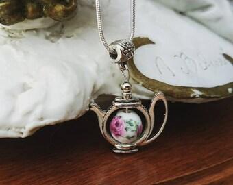 Teapot Necklace - Rose