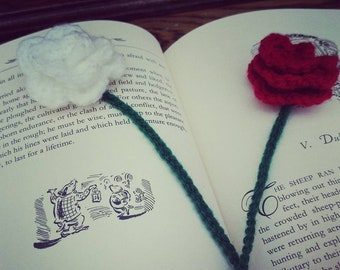 Crochet Bookmarks - White or Red Rose