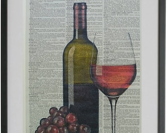 Red Wine Print No.601, alcohol gift, bar sign, red wine poster, red wine gifts, dictionary art, dictionary pages, wine print, wine gifts