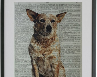 Red Heeler Print No414 Decal Gifts Cattle Dog Poster Blue Australia Dogs
