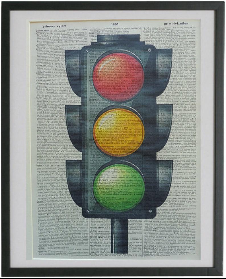 Traffic Lights Print No 289 Traffic Light Decor Housewarming Gifts Kids Bedroom Print Dictionary Art Traffic Signal Dorm Room Decor