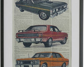 Ford Falcon GT Car Wall Art No.465, motor mechanic gifts, 1st wedding anniversary gifts, vintage cars poster, motor sport gifts