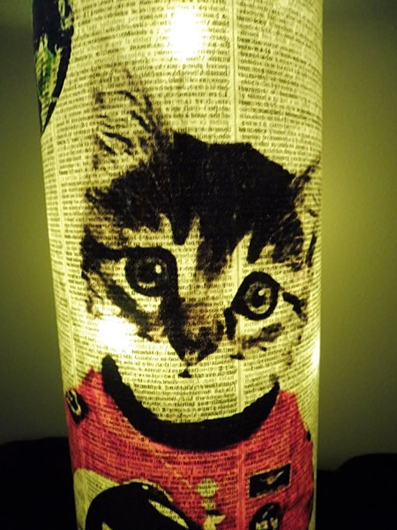 Space Cat Paper Lantern No.54 mood lighting funny cat print astronaut gifts