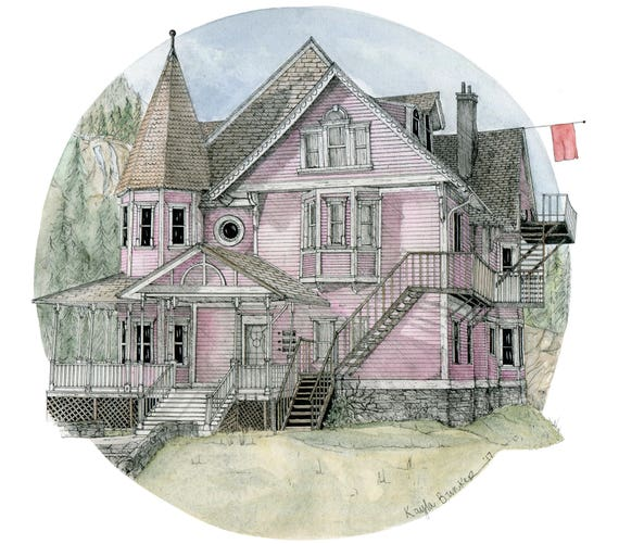 Coraline House The Pink Palace Print Etsy