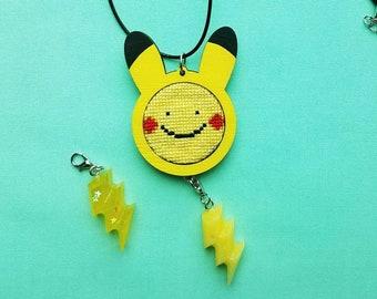 Ditto pikachu cross stitch necklace