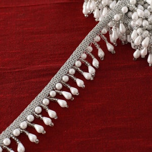 SP-2259 Lamp Shade White 11mm 2-Yards Faux Black Pear Pearl Beads on a string Costume Pearl Fringe Trim for Home Deco Black