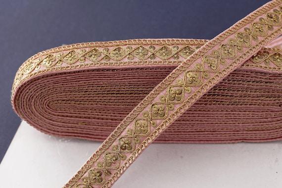 Costume Trim Sequin Lace 1 yard White and Pink Trim Geometric Trim Denim Jacket Patch Indian Decorative Trim Boho Embroidered Lace