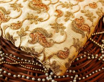 Half yard - Beige Embroidered Fabric with Gold Zari Work,  Paisley Fabric, Cotton Silk Fabric, Indian Embroidered Fabric
