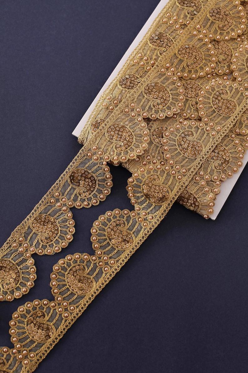 Floral Scallop Lace Indian Trim Boho Upholstery Trim Costume Trim Sequin Trim Gold Paisley Trim Organza Embroidered Trim