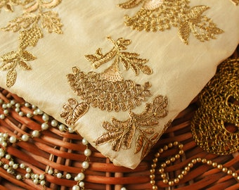 Half yard - Beige Embroidered Fabric with Gold Zari Work,  Gold Floral Fabric, Cotton Silk Fabric, Indian Embroidered Fabric