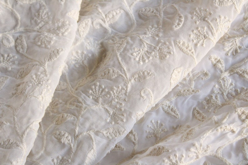 Indian Embroidered Fabric Off-White Embroidered Fabric Georgette Fabric Bridal Wear Fabric One yard