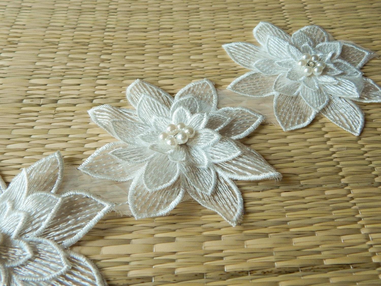White flower appliques floral appliques floral etsy