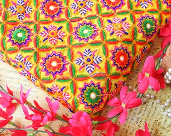 Sunshine Yellow Georgette Fabric, Boho Embroidered Fabric, Indian Embroidered Fabric, Floral Fabric with Sequins- Half Yard