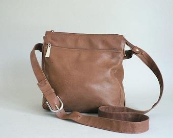 Brown Leather Cross Body Shoulder Bag