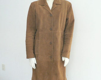 Women Brown Suede Leather Trench Coat