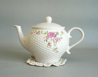 White Pink Floral Teapot