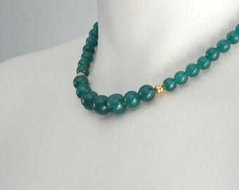 Simple Emerald Green Beaded  Jewel Neckline Necklace