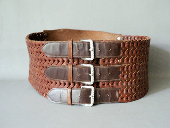 Brown Leather Triple Strap Corset Belt