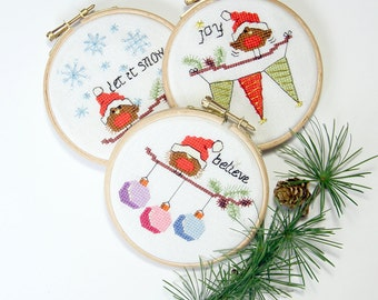 PDF - Instant download Cross stitch Christmas Cards and Ornaments - 3 modern cute easy robin designs, fun xmas craft cross stitch patterns
