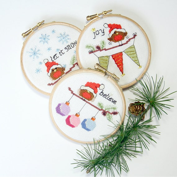 Cross Stitch Christmas Cards And Ornaments 3 Modern Cute