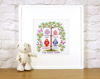 PDF - INSTANT DOWNLOAD Family tree cross stitch for 4 - cute birds easy stitch fun modern design, anniversary / welcome a new baby - pattern