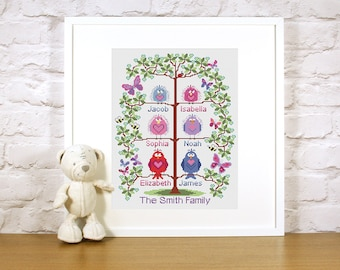 PDF - Instant download Cross stitch Family Tree for 6 - cute birds easy stitch fun modern design, wedding or to welcome a new baby - pattern