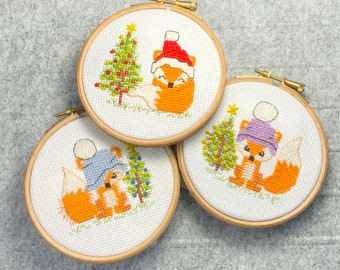 KIT OR CHART - Christmas Fox Cards and Ornaments cross stitch - 3 modern cute, easy designs, fun xmas craft cross stitch patterns