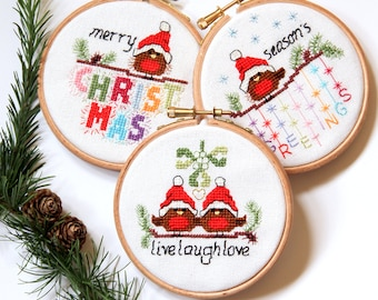 PDF - Instant download Cross stitch Christmas Cards and Ornaments - 3 modern cute, easy robin designs, fun xmas craft cross stitch patterns