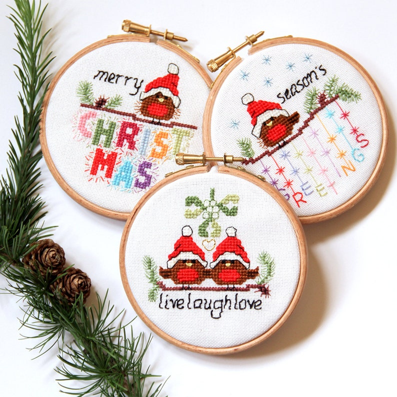 Cross Stitch Christmas Cards And Ornaments 3 Modern Cute Etsy