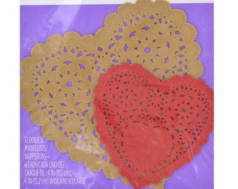 Assorted Paper Doilies - Red & Kraft by Wilton 12/PKG