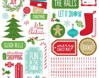 American Crafts Be Merry Cardstock Stickers, 2 Sheets