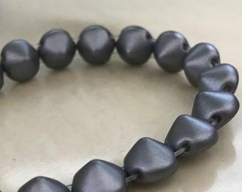 Tipp Beads 8mm Pastel Light Grey 2 Hole 25028 Czech Glass 20 Beads