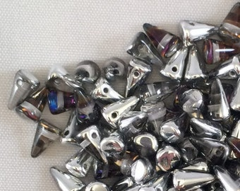 Spike Beads, 5x8mm, Crystal Bermuda Blue, 00030-29636, 25 Beads, Czech Glass