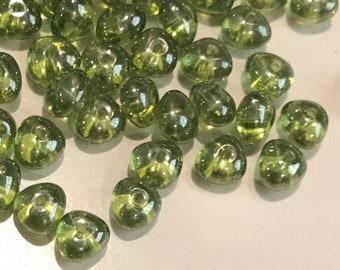 6x8mm Two-Tone AquaCapri Potato Shaped Sold per pack of 25 beads. Czech Glass Beads