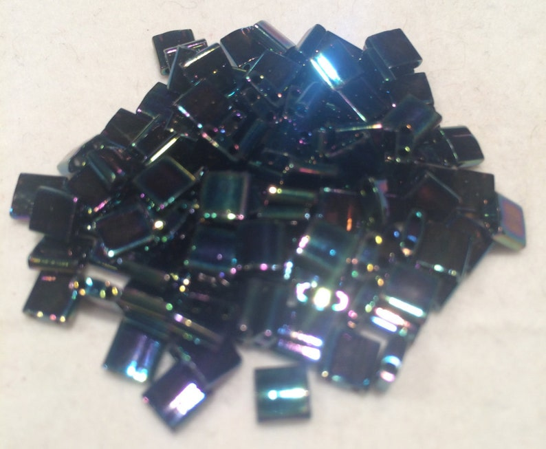 Miyuki Tila Beads - 5mm - Metallic Variegated Blue Iris - Japanese Glass -  5 Grams - Approximately 55 Beads - TL-455