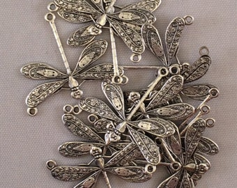 Charm-Dragonfly, 25x21mm, Silver Plated, BRS/032, 2 Pieces, Brass