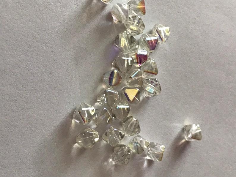 6mm Bicone Beads DESTASH 00030-98539 1 Crystal Green Rainbow 25 Beads Czech Glass