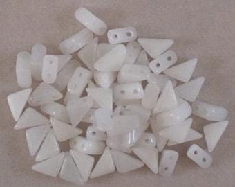 Tango Beads, 6mm, White Alabaster, TG/CW/6, 60 Beads, Czech Glass