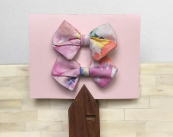 Water Color Fabric Hair Bow Clip or Headband