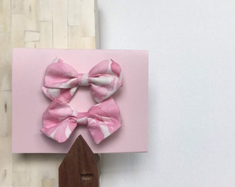 Pink and White Fabric Hair Bow Clip or Headband