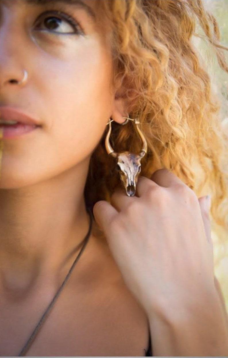 Skulls bull skull earrings bone earrings naturally dyed image 0