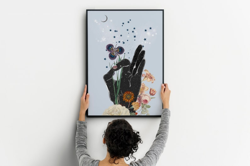 Meditation Decor Yoga Studio Art OM Yoga Illustration Mudra Hands Art Print Yoga Art Print Mudra Art Mudra Art Print Gyan Mudra Art