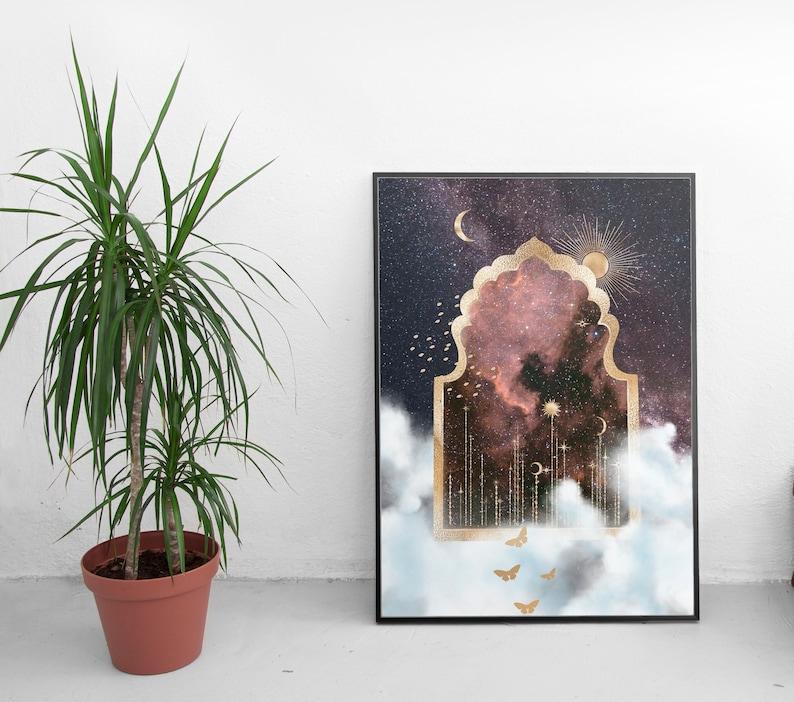 Cosmic Portal Surrealism Print Gold Decor Surrealism Poster Unique Art Collection Unique Abstract Art Surreal Mystery Art Space Art