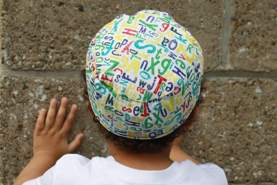 with a Hebrew Alphabet Train Yarmulke Hand-painted Kippah