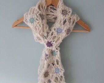 Womens Lacy scarf  / Handmade crochet soft cream Lacy Scarf / flower scarf / wrap / ladies scarves