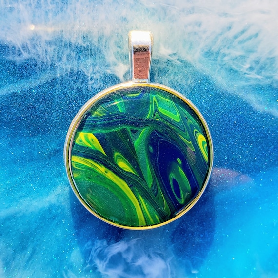 "Fluid Art Necklace // 1"" Tiny Painting Pendant with Chain // Gift // Wearable Art // Abstract Art //"