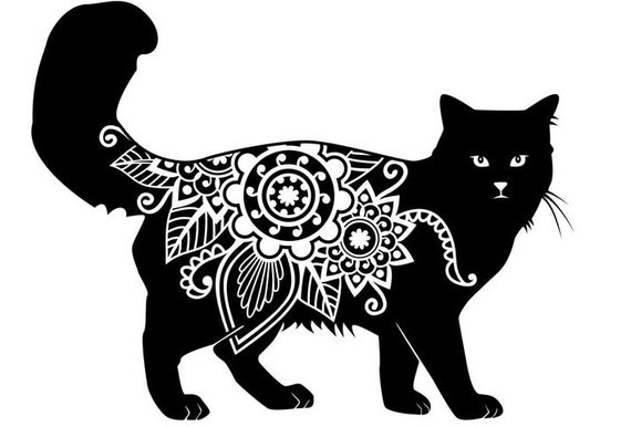 Cat Decal // FREE SHIPPING // Permanent Vinyl Mandala Cutout // Car or Wall Decor // Ready to Apply with Transfer Tape // Peace House Art