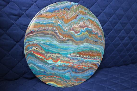 mixed media resin art // fluid painting // resin art // flow art // abstract art // gift